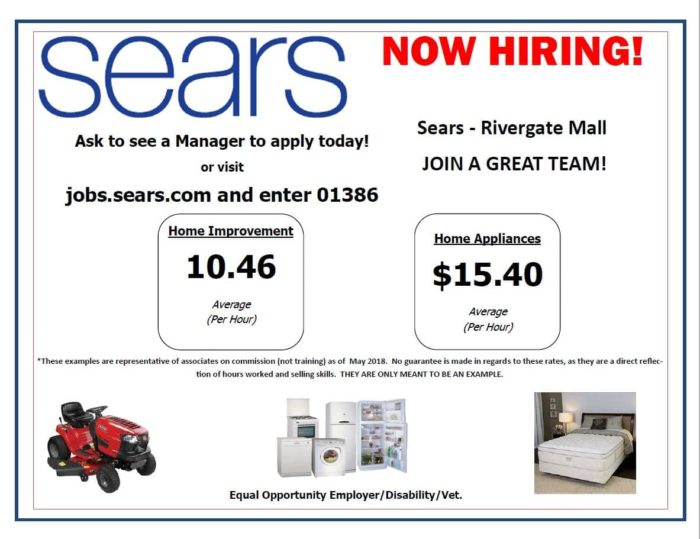 Sears Is Hiring Rivergate Mall